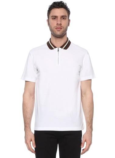 NetWork Erkek 1073719 Slim Fit Yakası Jakarlı T-shirt Beyaz